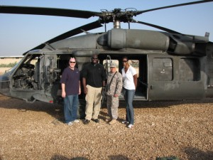 MVP & SFC Scott Angle in front of an Army Blackhawk helicopter