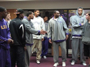 "LSU men doing the ""Agree/Disagree/Unsure activity"""